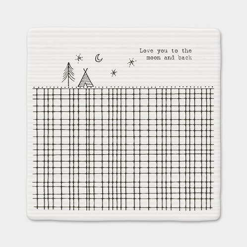 East of India Love you to the moon and back porcelain coaster