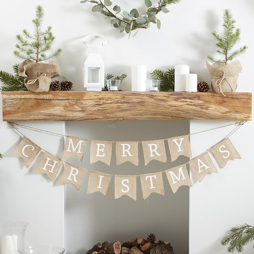 HESSIAN BURLAP MERRY CHRISTMAS BUNTING - RUSTIC CHRISTMAS by Ginger Ray