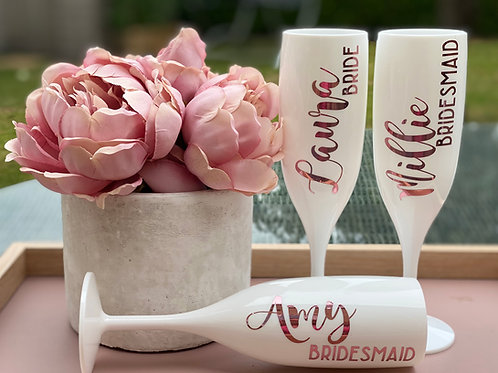 Personalised Bride / Bridesmaid Flutes