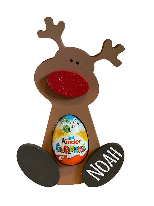 Cute Personalised Wooden Reindeer for chocolate egg
