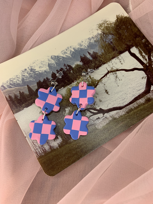 pink and blue checkered double flowers