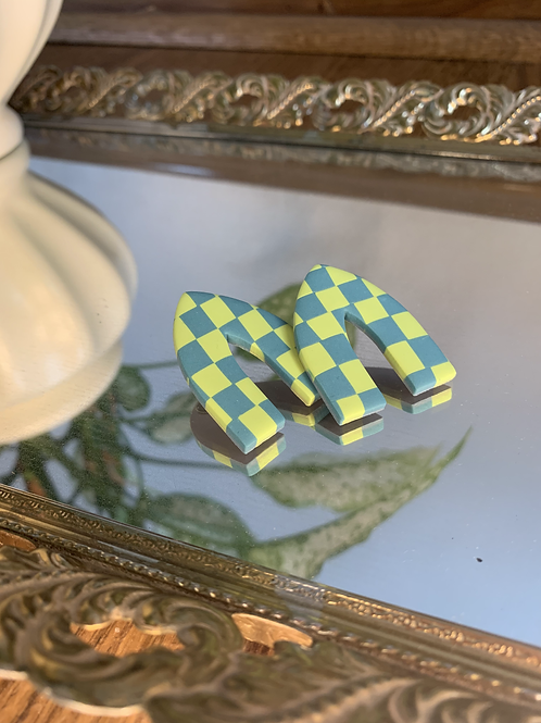 chartreuse and teal checkered pointed arch studs