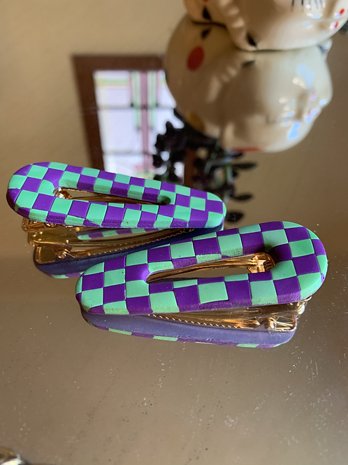 purple and green checkered teardrop barrette duo