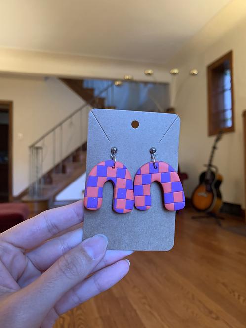 orange and purple checkered round arches