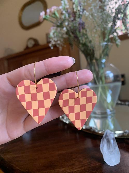 burnt orange and ochre checkered hearts