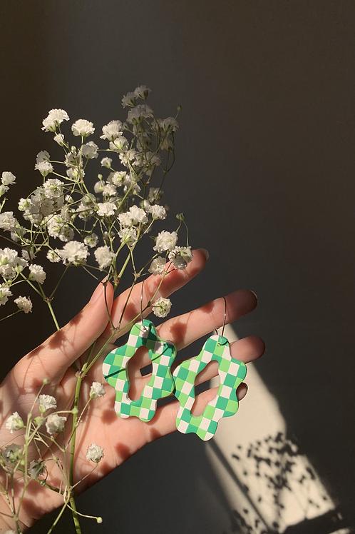 green gingham blobs