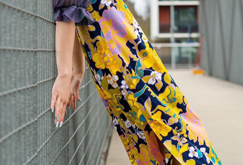 Floral Baloon-Sleeve Dress