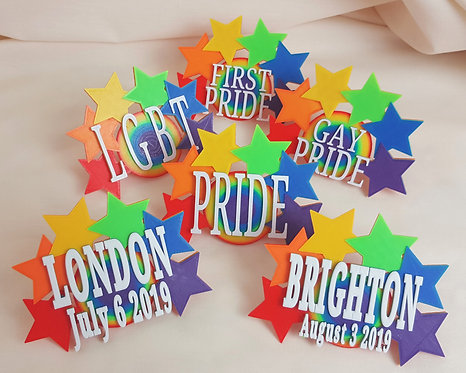 Personalised Star Style Pride Badge.