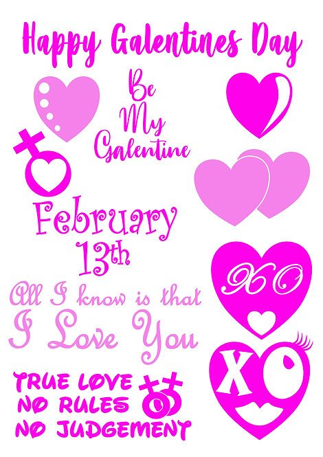 Galentines Design Pack for Crafters,  Hobbyists svg jpg gif pdf eps etc