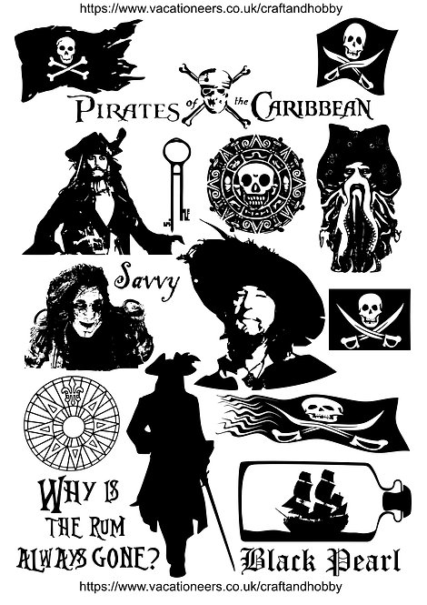 Pirates Caribbean Design Pack for Crafters,  Hobbyists svg jpg gif pdf eps etc