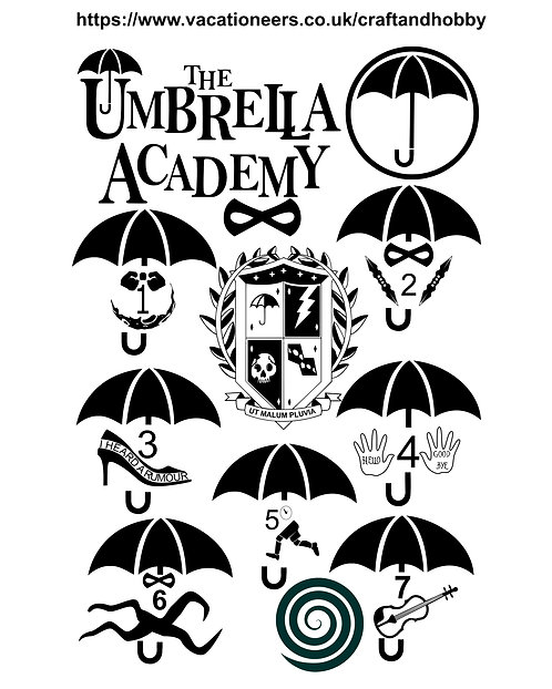 Umbrella Academy Design Pack for Crafters,  Hobbyists svg jpg gif pdf eps