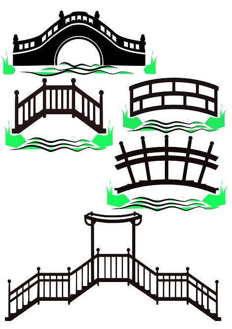 Oriental Bridge Design Pack for Crafters,  Hobbyists svg jpg gif etc