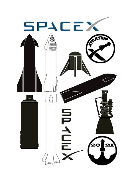 SpaceX Design Pack A for Crafters and Hobbyists svg jpg gif png dxf pd