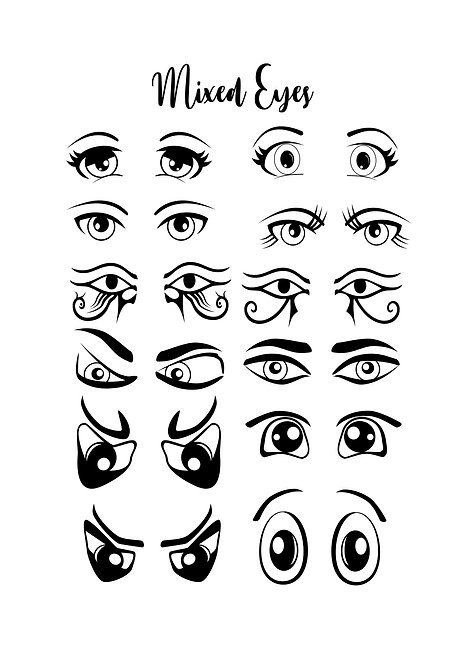 Mixed Eyes Design Pack for Crafters,  Hobbyists svg jpg gif pdf etc