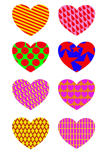 Heart Pattern Design Pack A for Crafters and Hobbyists svg jpg gif png dxf pdf