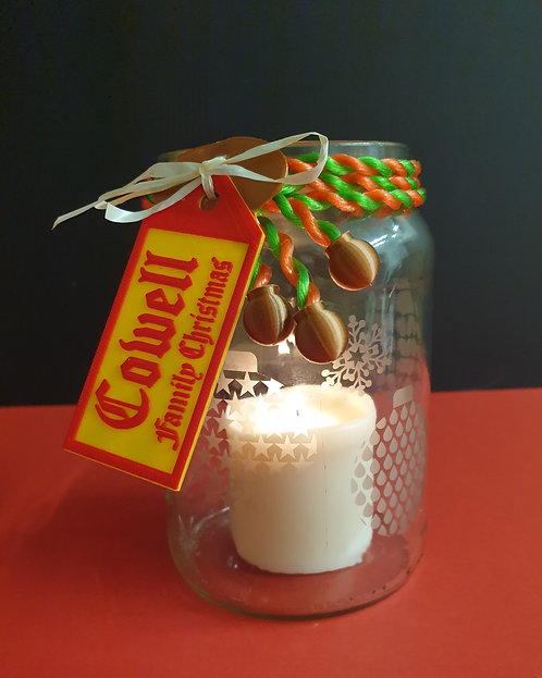 Christmas Candle Jar with Etched Patterns, Coloured Collar and Greetings Label