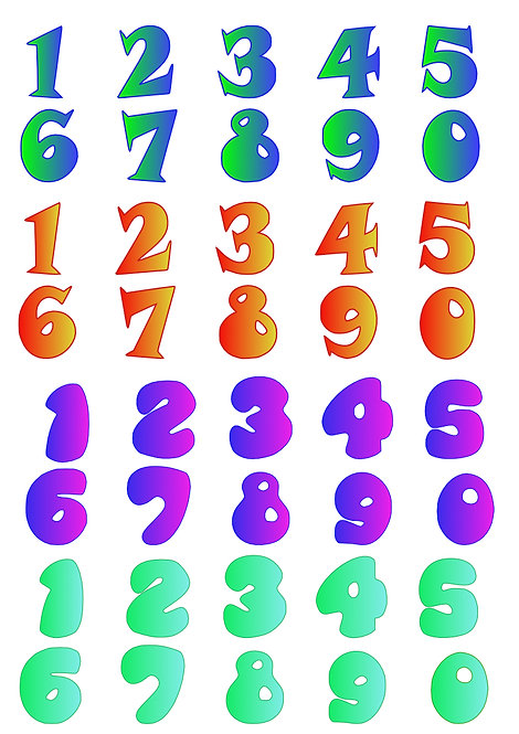 Numbers Design Pack A for Crafters and Hobbyists svg, jpg, gif, png, dxf, eps