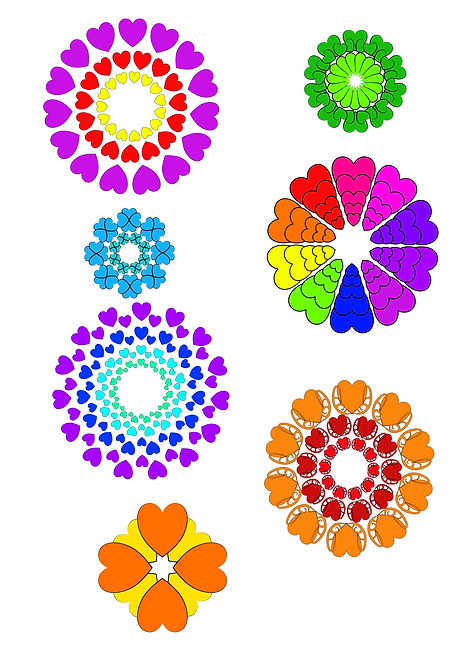 Hearts Flowers Design Pack A for Crafters and Hobbyists svg, jpg, gif, png, dxf
