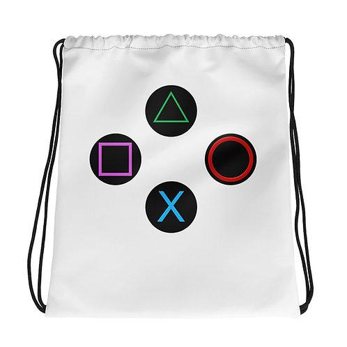 Controller Buttons Drawstring Bag-White
