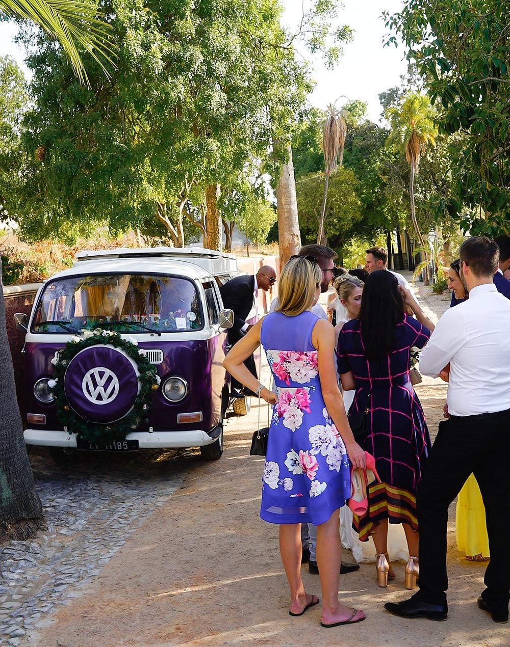 Photo booth Volkswagen bus at wedding in Palacio de Estoi Faro Algarve Portugal