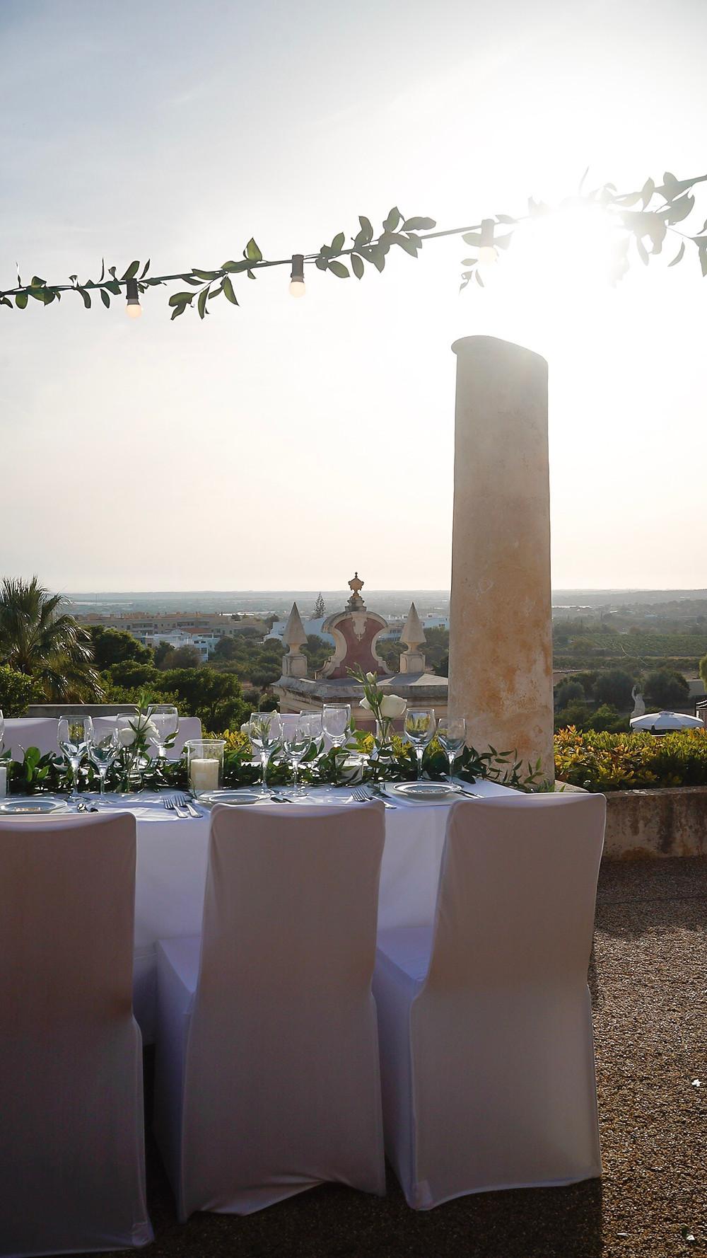 View from dinner area in wedding venue Palacio de Estoi Pousada in Faro Algarve Portugal