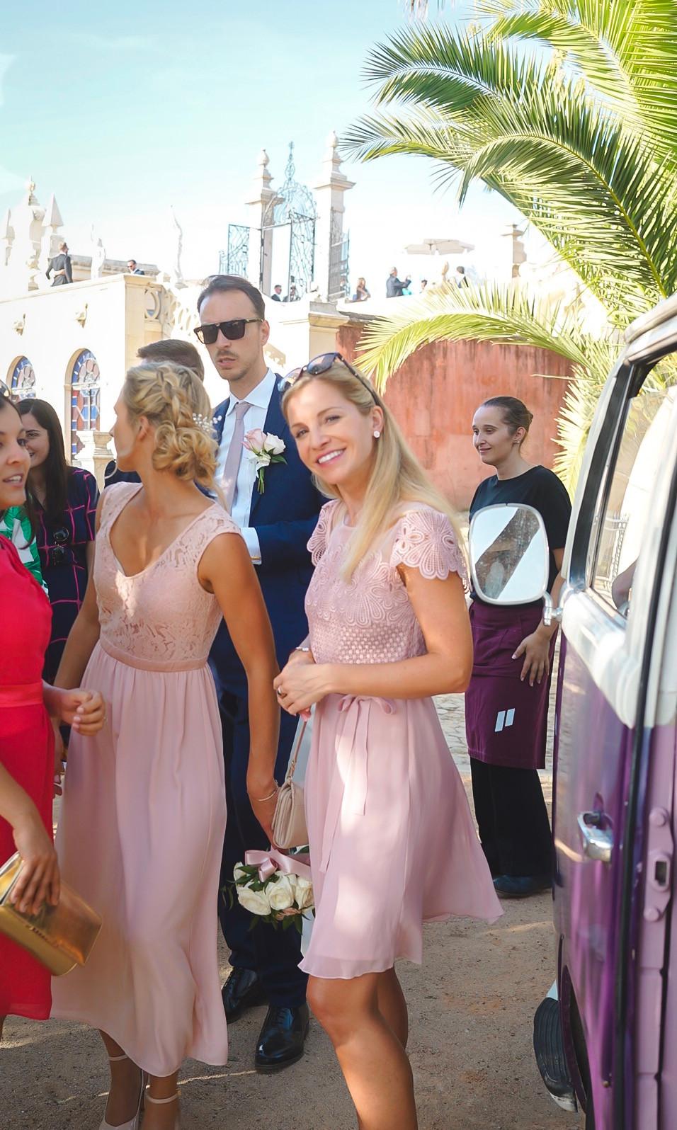 Bridesmaid outside Algarve Photobus photo booth in front of Pousada de Estoi Wedding Venue Algarve Portugal