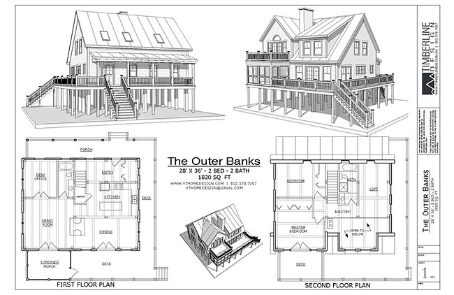 The outer banks pier house plamn for Beach house plans outer banks