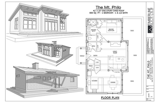 The mt philo modern timber frame cabin plan 800 sq ft Modern timber frame house plans