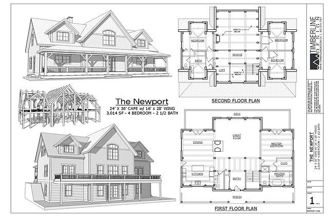 The Newport Timber Frame House Plan 4 Bed 2 5 Baths