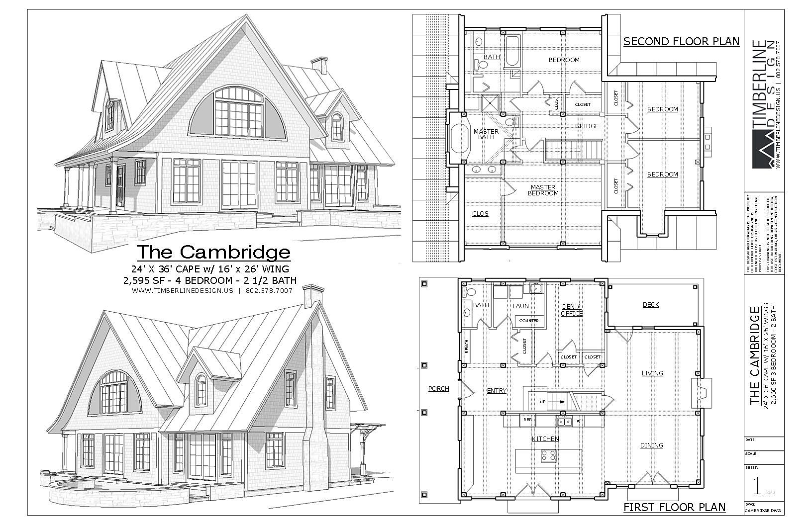 The Cambridge Craftsman Style Timber Frame House Plans 2595 sf