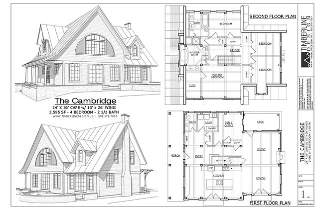 The Cambridge | Craftsman Style Timber Frame House Plans | 2595 sf.