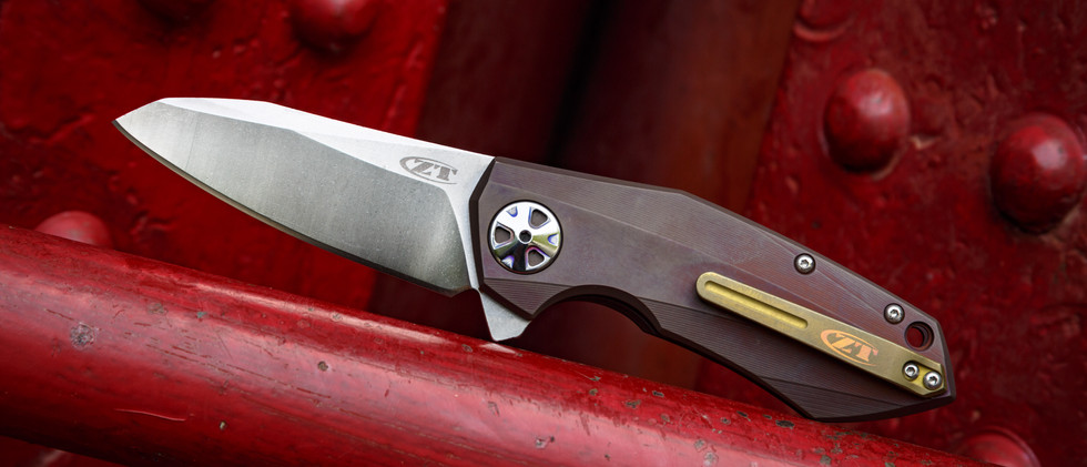 ZT knife with dual layer anodizing and engraving