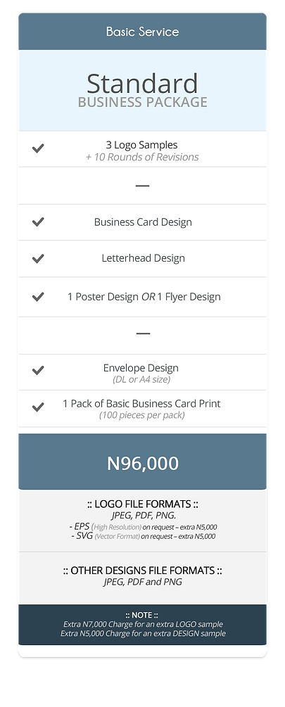Pricing Table (Standard Business Package