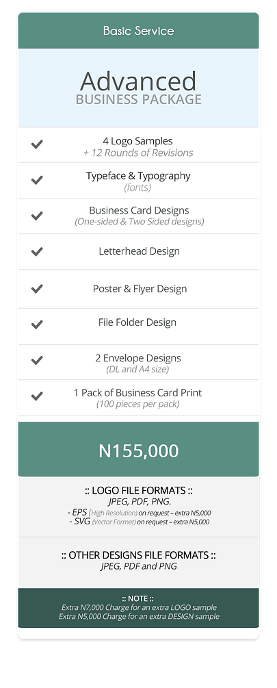 Pricing Table (Advanced Business Package