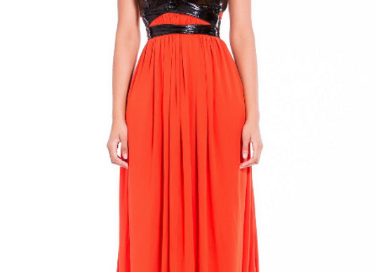 PATENT LEATHER BODICE JERSEY GOWN