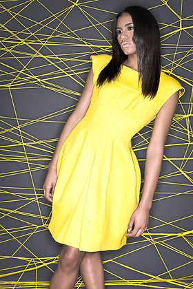 YELLOW CASHMERE PANELED DRESS.