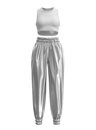 Cropped Sleeveless  Sweater & Lame Pants