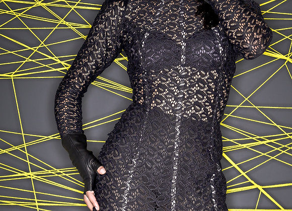 CORSETED STRETCH LACE DRESS
