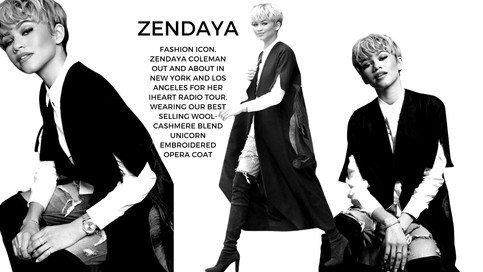 Style star Zendaya Coleman wearing our ESPION embroidered unicorn cape coat