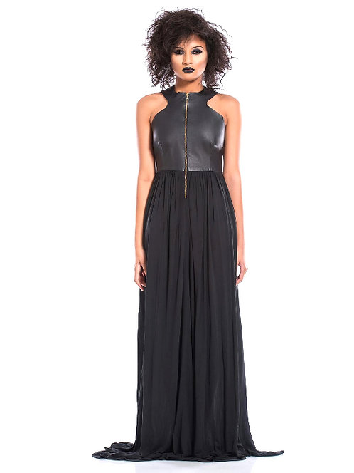 LEATHER BODICE JERSEY GOWN