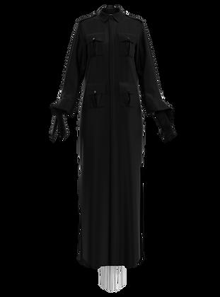 """""""Liza"""" Black Tie Shirtdress w/Fringe"""