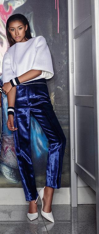 Blue Silk Velvet Trousers