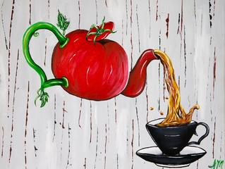 "Tomato...Tomahto. My original ""Tea Time"" painting!"
