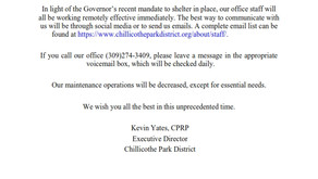 A message from Chillicothe Park District