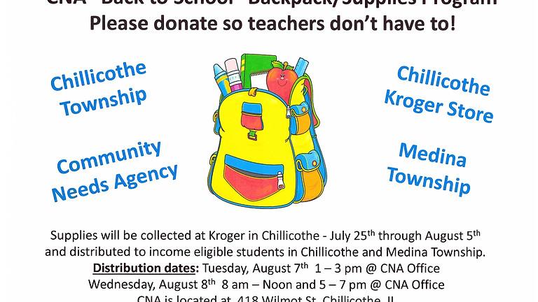 CNA Back to School Backpack/Supplies Program