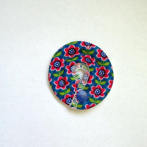 Petit Stomie Patch - bleu fleurs roses