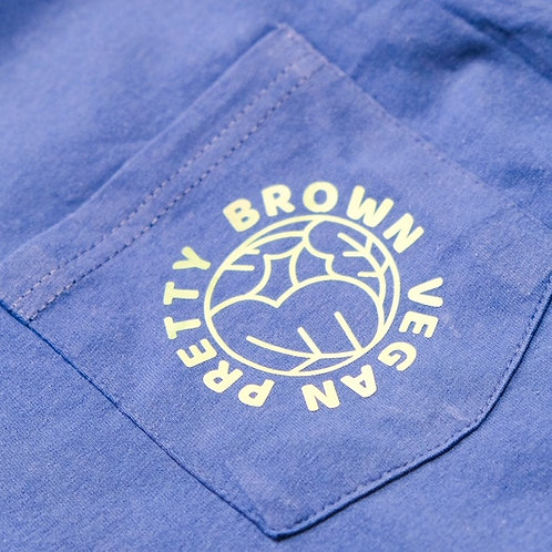 Pretty Brown Vegan Pocket Tee - Blue