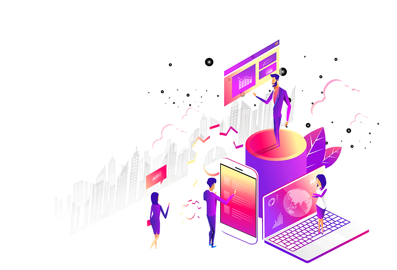 team, computers, phone, tablet, charts, animation