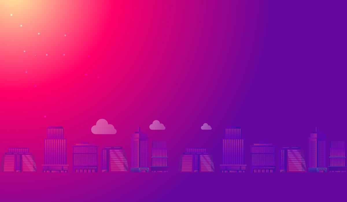 city skyline, animation, red, purple
