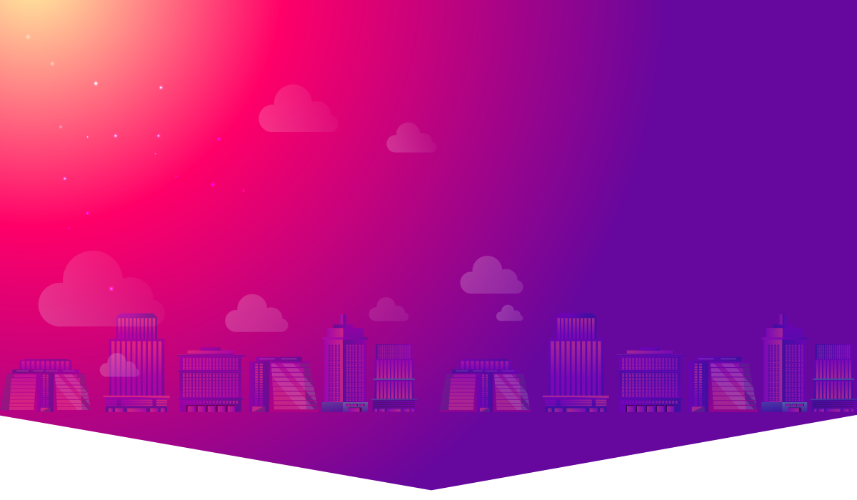 baner, skyline, red and purple, illustration